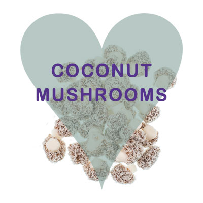 Coconut mushrooms pick and mix.