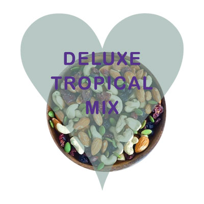 Scoops Delux Tropical Mix (jumbo raisins, chopped dates, apple, cranberries, pineapple, papaya, banana, coconut, almonds, hazelnuts, cashews, sunflower seeds.