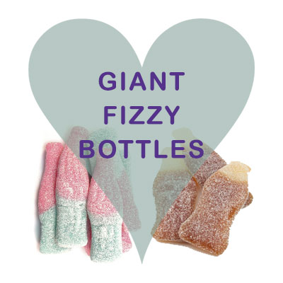 Giant Fizzy bottles (cola, cherry, blue) pick and mix