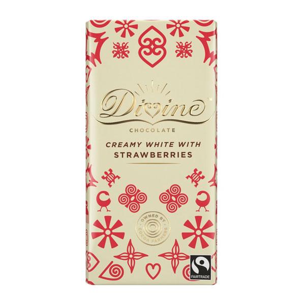 Divine Chocolate – Creamy White with Strawberries