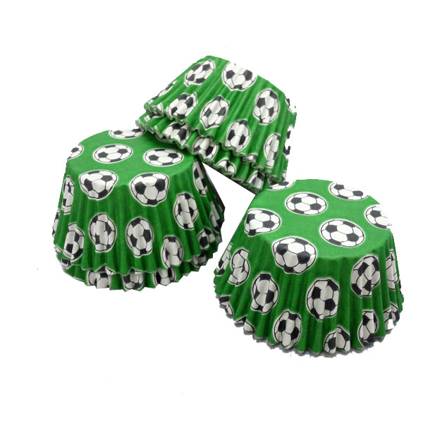 Green Football Style Muffin Cases 36