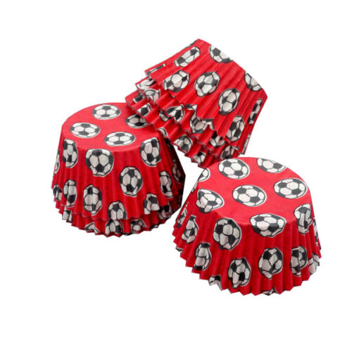 Scoops - Red Football Style Muffin Cases 36