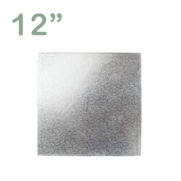 """Square Cake Drum 12"""" Silver"""