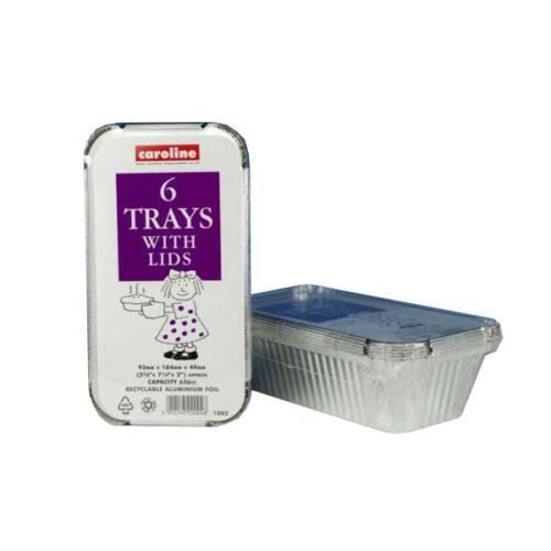 Caroline 1002 - 6 Foil Trays with Lids Medium