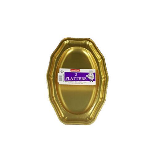 """Caroline 1070- 14"""" Gold Foil Platters"""
